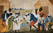 Esclaves dansant au son du banjo